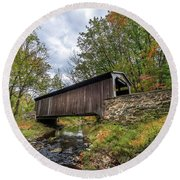 Pennsylvania Covered Bridge In Autumn Round Beach Towel