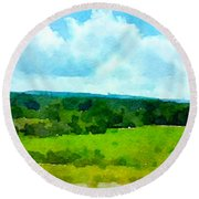 Round Beach Towel featuring the painting Pennsylvania Landscape by Joan Reese