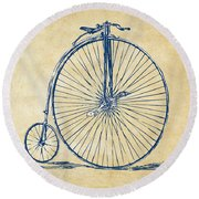 Round Beach Towel featuring the digital art Penny-farthing 1867 High Wheeler Bicycle Vintage by Nikki Marie Smith