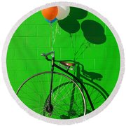Penny Farthing Bike Round Beach Towel by Garry Gay