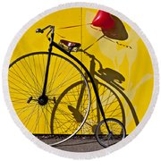 Penny Farthing Love Round Beach Towel by Garry Gay