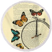 Penny Farthing With Butterflies Round Beach Towel