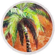 Penny Palm Round Beach Towel by Kristen Abrahamson