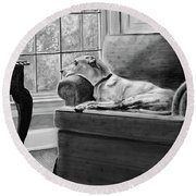 Round Beach Towel featuring the painting Penny by Patricia L Davidson