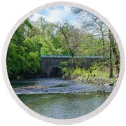 Round Beach Towel featuring the photograph Pennypack Creek Bridge Built 1697 by Bill Cannon