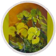 Round Beach Towel featuring the painting Pennys Up Close Revisited by LaVonne Hand