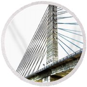 Penobscot Narrows Bridge And Observatory Round Beach Towel