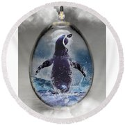 Penquin Art Round Beach Towel