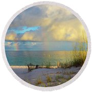 Pensacola Rainbow At Sunset Round Beach Towel by Marie Hicks