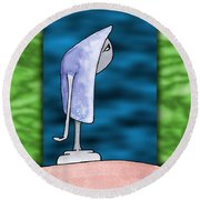Pensive Round Beach Towel by Uncle J's Monsters