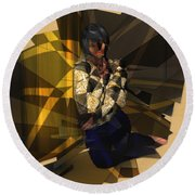 Pensive Woman Round Beach Towel