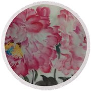 Round Beach Towel featuring the painting Peoney20161230_624 by Dongling Sun