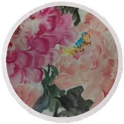 Round Beach Towel featuring the painting Peoney20161230_6246 by Dongling Sun