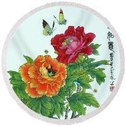 Peonies And Butterflies Round Beach Towel by Yufeng Wang