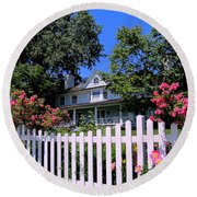 Peonies And Picket Fences Round Beach Towel