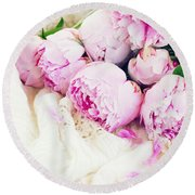 Peonies And Wedding Dress Round Beach Towel