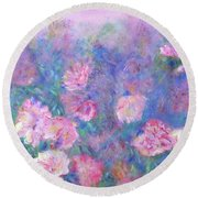 Peonies Round Beach Towel by Claire Bull