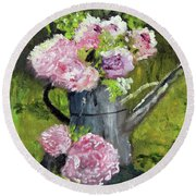 Peonies In Watering Can Round Beach Towel