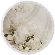 Peonies In White  Round Beach Towel