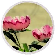 Peony Pair - Enhanced Round Beach Towel by MTBobbins Photography