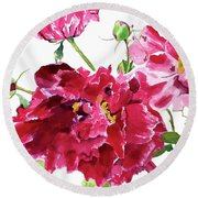 Round Beach Towel featuring the painting Peony by Patti Ferron