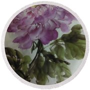 Round Beach Towel featuring the painting Peony20170126_1 by Dongling Sun