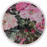 Round Beach Towel featuring the painting Peony20170126_2 by Dongling Sun