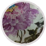 Round Beach Towel featuring the painting Peony20170213_1 by Dongling Sun