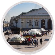 People At Manezh Exhibition Center Round Beach Towel