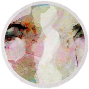 People Watching - Passersby Round Beach Towel by Ed Hall