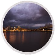 Round Beach Towel featuring the photograph Peoria Dramatic Skyline by Andrea Silies