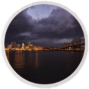 Round Beach Towel featuring the photograph Peoria Stormy Cityscape by Andrea Silies