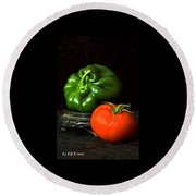 Pepper And Tomato Round Beach Towel by Elf Evans
