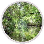 Round Beach Towel featuring the photograph Pepper Creek by Carol Bradley