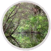 Round Beach Towel featuring the photograph Pepper Creek Reflections by Carol Bradley