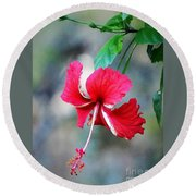 Peppermint Hibiscus Round Beach Towel