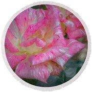 Peppermint Rose Round Beach Towel