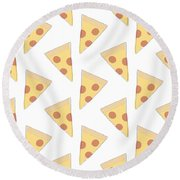 Pepperoni Pizza- Art By Linda Woods Round Beach Towel