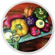 Peppers And A Turquoise Tray Round Beach Towel