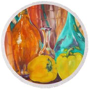 Peppers And Vases Round Beach Towel by Lisa Boyd