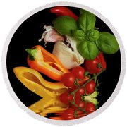 Round Beach Towel featuring the photograph Peppers Basil Tomatoes Garlic by David French