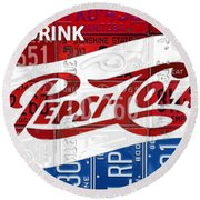 Pepsi Cola Vintage Logo Recycled License Plate Art On Brick Wall Round Beach Towel
