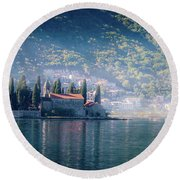 Perast Church Round Beach Towel