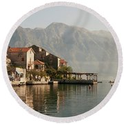 Perast Restaurant Round Beach Towel by Phyllis Peterson