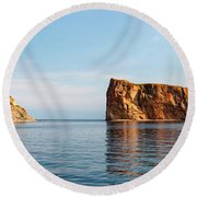 Round Beach Towel featuring the photograph Perce Rock At Gaspe Peninsula by Elena Elisseeva