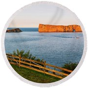 Round Beach Towel featuring the photograph Perce Rock At Sunset by Elena Elisseeva