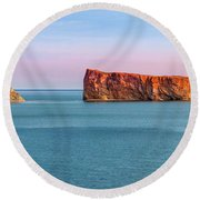 Round Beach Towel featuring the photograph Perce Rock Panorama At Sunset by Elena Elisseeva