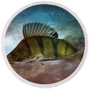 Perch Jumping Painting - Fishing Gifts Part03 Round Beach Towel