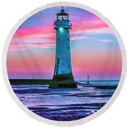 Round Beach Towel featuring the photograph Perch Rock Sunset by Brian Tarr