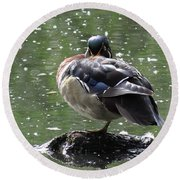 Perchance To Dream Of Fair Wood Duck Maidens Round Beach Towel by I'ina Van Lawick